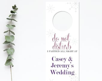 Wedding Hotel Door Hanger Sign - Winter Snowflake