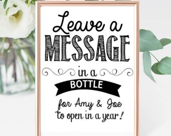 Leave a Message in a Bottle Sign, Wedding guest book alternative, Anniversary, Unique wedding activity, baby shower activity game, advice