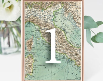 Travel Map Wedding Table Numbers Digital (1 to 22) - Travel Theme Wedding - Adventure Theme  - Globe Wedding Décor - Map Décor