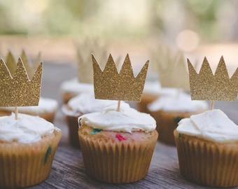 Crown Cupcake Toppers – Wild Things Theme Party – Prince Birthday Party – King Birthday Décor – Wild Things Party Decor