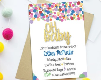 Oh Baby Modern Baby Shower Invitation – Ready to Pop Theme - Oh Baby Theme Party – Gender Neutral Baby Shower Décor – Gender Reveal Decor