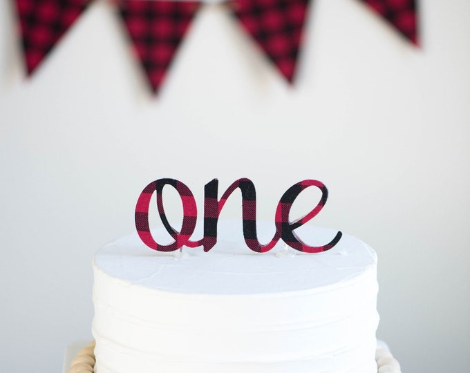 Featured listing image: Red Buffalo Plaid Cake Topper, birthday cake toppers, First Birthday cake topper, Smash Cake, one cake topper, birthday cake decorations