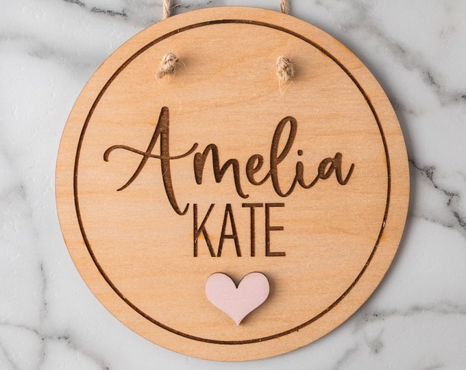 Featured listing image: Custom Name Sign, Kids Room Decor, Wooden Name Sign, Nursery Door Hanger