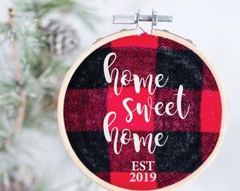 Home Sweet Home Christmas Ornament - Buffalo Plaid Ornament – Our First Home Ornament - Our First House Ornament – Christmas Gift