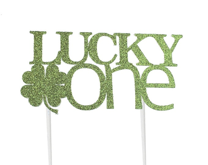 Featured listing image: Lucky One Cake Topper – Saint Patrick's Day Theme Party – First Birthday Party – St. Patty's Day Birthday Décor – Shamrock Party Decor