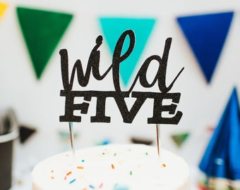 Wild Five Cake Topper, 5th fifth birthday cake toppers, Baby Shower cake topper, Jungle Theme Party Decor, Woodlands Theme Party Decor