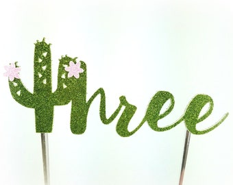 Cactus Cake Topper, Cactus birthday cake toppers, flower, third three 3 Birthday cake, Smash Cake, birthday decorations