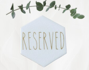 Wedding Marble and Gold Reserved Sign – Marble Wedding Decor – Ceremony Reserved Sign – Wedding Décor – Wedding Decoration