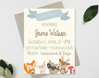 Woodland Creature Baby Shower Invitation – Animal Theme Shower - Woodland Creature Theme Baby Shower – Animal Party Décor