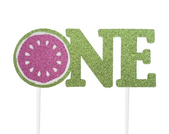 Handmade 1st Birthday Cake Topper - Watermelon One - Double Sided Glitter Stock