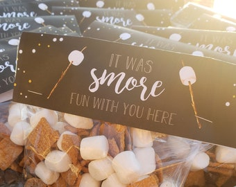 Smores Camping Party Favor Bag Toppers – Backyard Theme Party - Smores Theme Party favors – Camping Birthday Décor – Overnight Party Decor