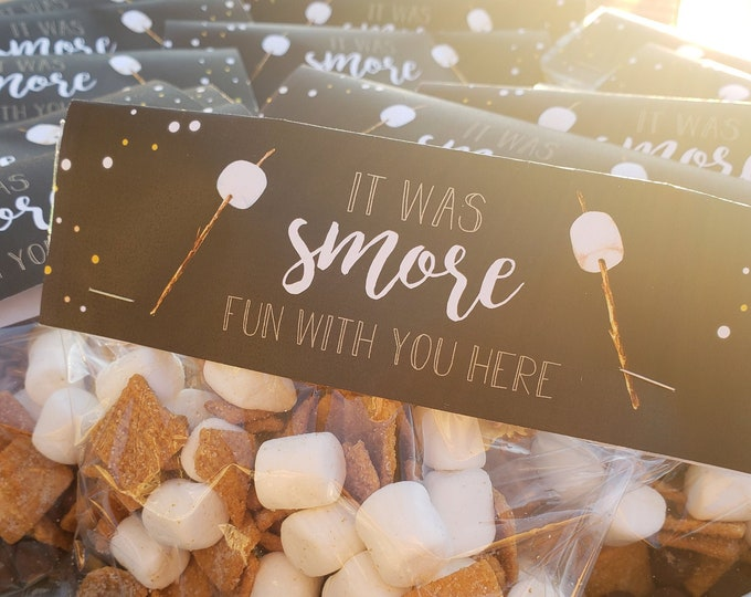 Featured listing image: Smores Camping Party Favor Bag Toppers – Backyard Theme Party - Smores Theme Party favors – Camping Birthday Décor – Overnight Party Decor