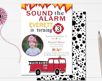 Firetruck Party Invitation –Fireman Theme Party - Rescue Theme Party – Firetruck Birthday Décor – Firehouse Party Decor