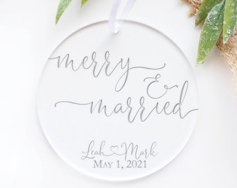 Merry and Married Ornament, 1st Christmas Ornament, 2021 Ornament, Christmas Ornament, White Elephant, Secret Santa Gift, Ornament Exchange