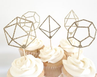 Geometric Shapes Cupcake Topper – Modern Theme Party – Geometric Birthday Party – Modern Birthday Décor – Hexagon Party Decor