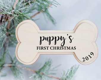 Puppy's First  Christmas Ornament - Dog Bone Ornament – Personalized Christmas Ornament - Dog's 1st Christmas Ornament – Christmas Gift