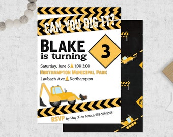 Construction Party Invitation – Digger Theme Party - Can You Dig It Theme Party – Construction Birthday Décor – Dumptruck Party Decor