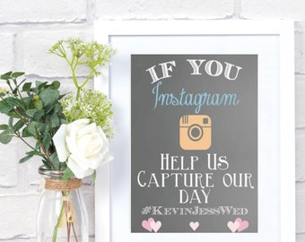 Instagram Sign - Help us Capture the Day - Grey Chalkboard