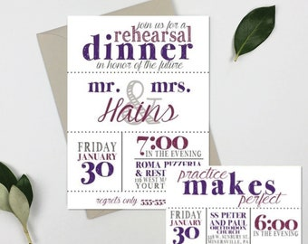 Rehearsal Dinner Invitation: Practice Makes Perfect