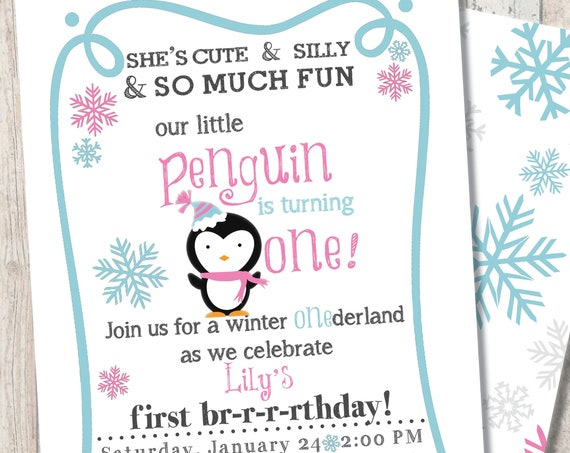 "Winter Penguin First Birthday Invitation - Winter Wonderland ""One""derland - Snowflake Print Back"