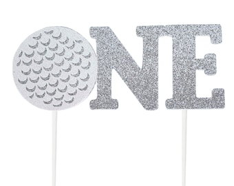 Handmade 1st Birthday Cake Topper - Golf Ball One - Double Sided Glitter Stock