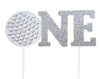 Handmade 1st Birthday Cake Topper - Golf Ball One - Double Sided Glitter Stock