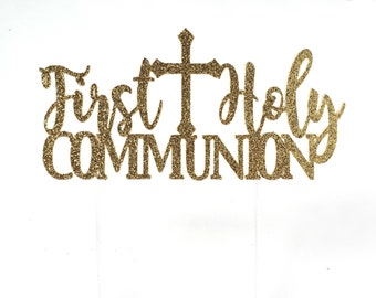Communion Cake Topper, Gold Glitter, First Communion