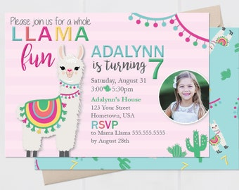 Llama Cactus Party Invitation – Cactus Theme Party - Llama Theme Party – Fiesta Birthday Décor – Llama Party Decor
