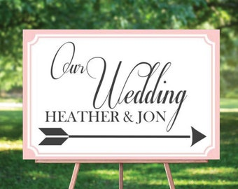 Wedding Directional Yard Sign Image - Customizable