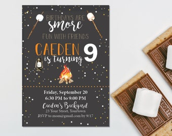 Smores Camping Party Invitation – Backyard Theme Party - Smores Theme Party – Camping Birthday Décor – Overnight Party Decor