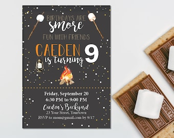 Smores Camping Party Invitation – Backyard Theme Party - Smores Theme Party – Camping Birthday Décor – Overnight Party Decor