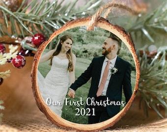 Photo Christmas Ornament – Photo Holiday Ornament – Our First Christmas - Photo Wedding Keepsake Ornament - Personalized Keepsake Gift