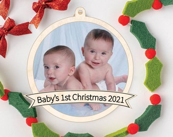 Photo Christmas Ornament, Photo Holiday Ornament, Baby's First Christmas, Photo Keepsake Ornament, Personalized Keepsake Gift
