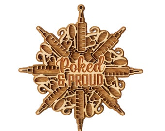 Poked and Proud, Vaccine Ornament, 2021 Ornament, Christmas Ornament, White Elephant, Secret Santa Gift, Ornament Exchange