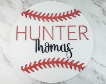Custom Name Sign, Kids Room Decor, Wooden Name Sign, Baseball Name Sign, Nursery Decor