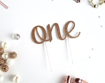 Rose Gold Copper Cake Topper, birthday cake toppers, First Birthday cake topper, Smash Cake, one cake topper, birthday cake decorations