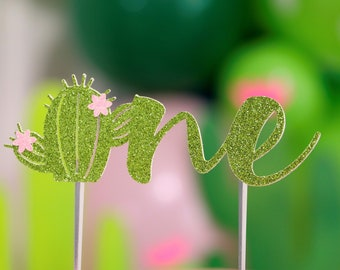 Cactus Cake Topper, Cactus birthday cake toppers,flower, First one 1st Birthday cake, Smash Cake, birthday decorations, succulent