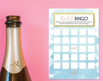 Beach Bridal Shower Bingo – Ocean Bridal Shower - Nautical Bridal Shower Game –  Beach Bridal Shower Décor – Bridal Shower Games
