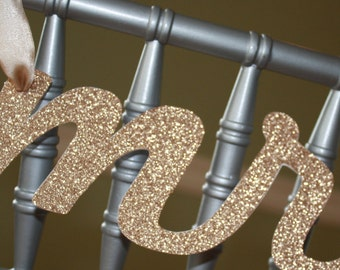 Mr. & Mrs. Wedding Chair Banner, Gold Glitter, Chair Decorations, Wedding Chair, Mr. and Mrs. Table Decorations