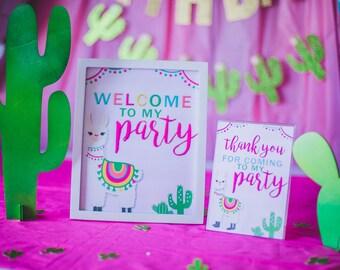 Llama Cactus Party Party Printable - Llama Theme Party – A Whole Lama Fun – Llama Party Decor - I design you print