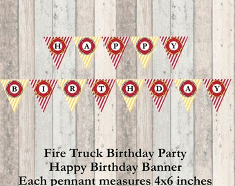 Firetruck Birthday Party Happy Birthday Banner - Decorations