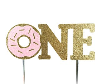 Cake Topper, birthday cake toppers, First One 1st Birthday cake topper, Donut Cake, Gold cake topper, birthday cake decorations