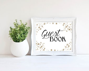 Guest Book Sign- Gold Dot