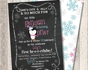 """Winter Penguin First Birthday Invitation - Winter Wonderland """"One""""derland - Snowflake Print Back"""