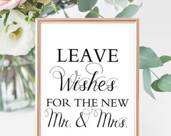 "Guest Book Sign - ""Leave Wishes for the new Mr. & Mrs."""