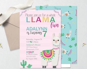 Llama Cactus Party Invitation – Cactus Theme Party - Llama Theme Party – Fiesta Birthday Décor – Llama Party Decor