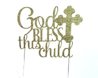 Baptism Cake Topper, Gold Glitter, Christening Cake Topper, Religious Cake Topper, For Child's Baptism
