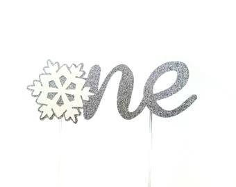 One Birthday Cake Topper – Snowflake Cake Topper – Babys First Birthday – Snowflake Theme Party – Winter Party Décor - 1st Birthday Cake