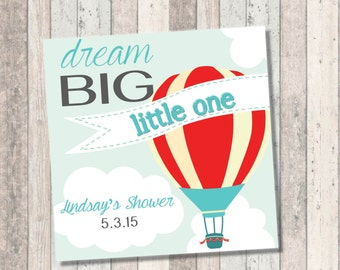 Dream Big Baby Shower Invitation- Hot Air Balloon - Favor Tags