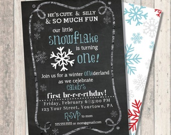"Winter snowflake First Birthday Invitation - Winter Wonderland ""One""derland - Snowflake Print Back"